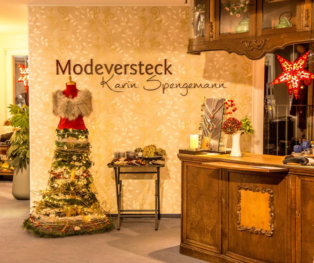 Weihnachtlicher Reifrock vor Logowand
